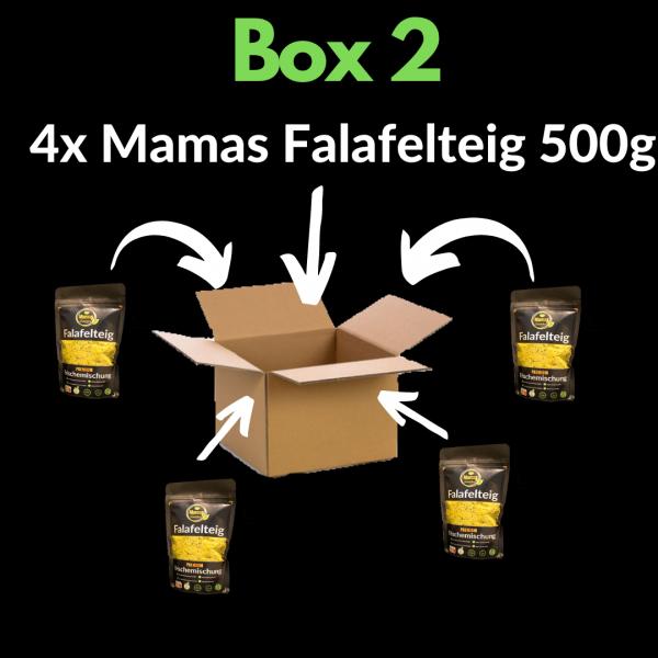 Mit der Box 2 von Mamas Falafelteig bekommst du 4x Falafelteig 500g4x 500g Mamas FalafelteigHaltbarkeit= 6 Monate (Tiefgefroren)
